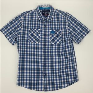 Super Dry Casual Button Up Plaid Shirt (Large)
